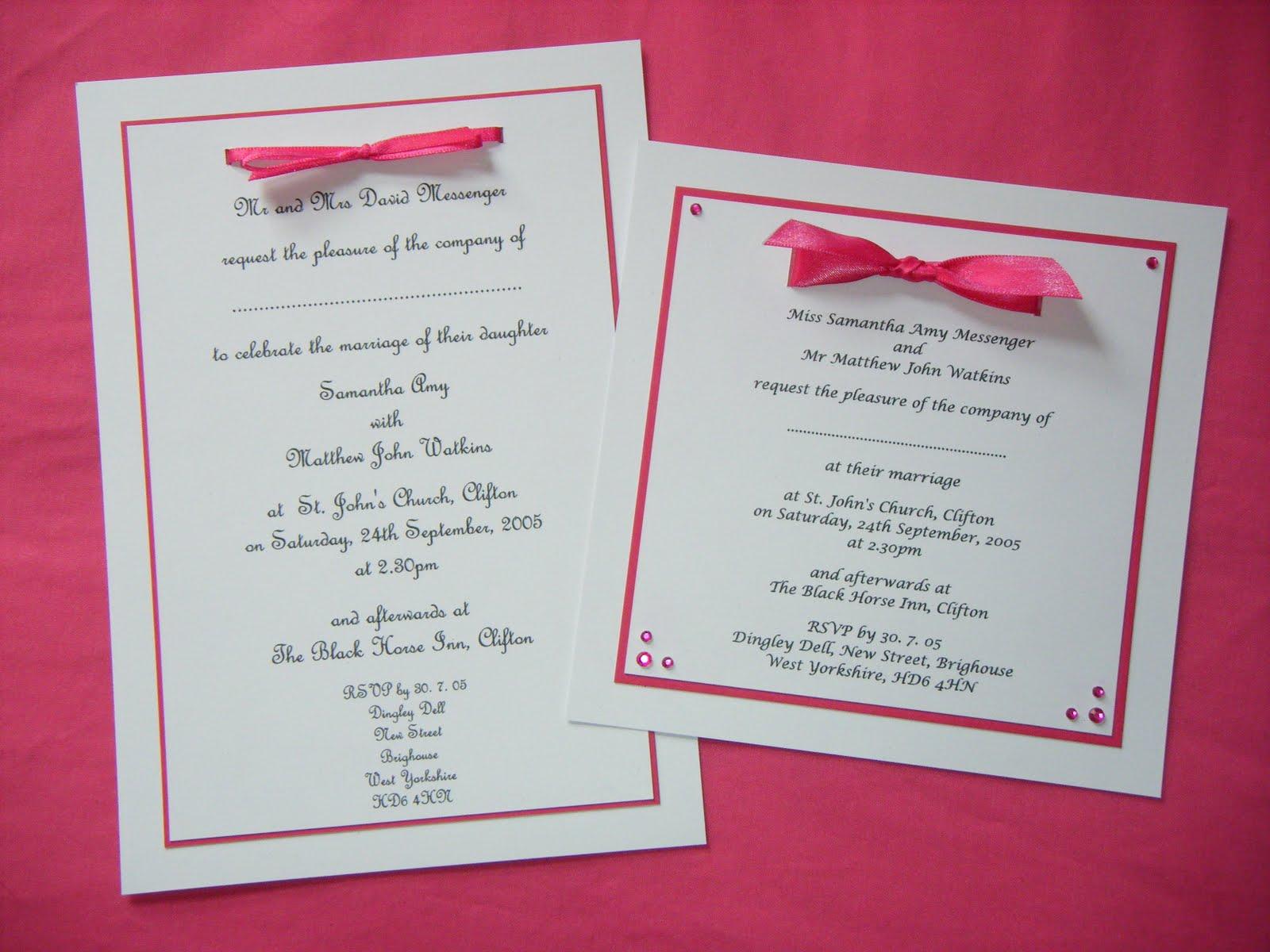 Leia Legweaks Handmade Crafts Fuschia Wedding Invites