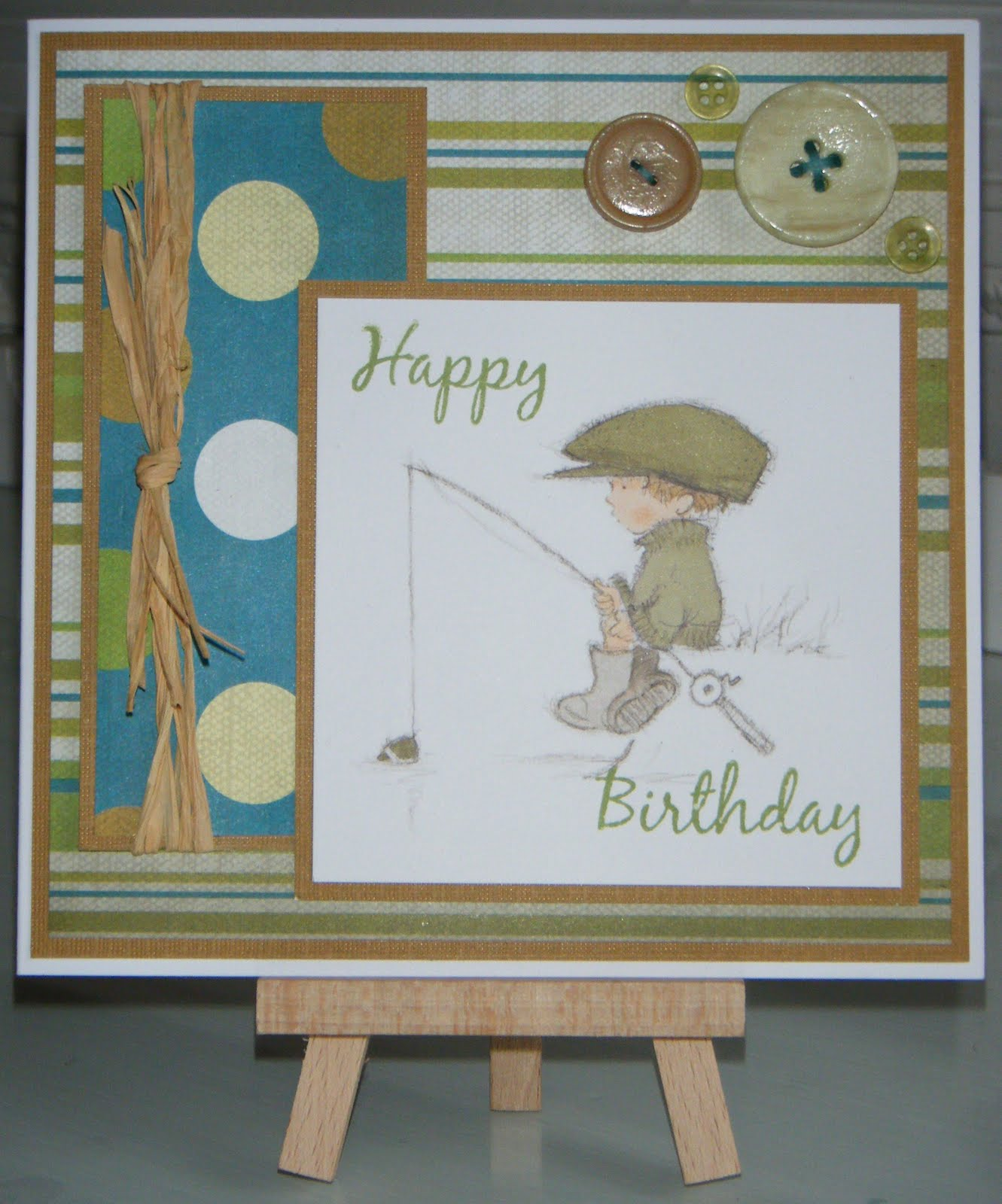 Leia legweaks handmade crafts fishing birthday cards this second card was designed in digital scrapbook artist 2 and then printed onto matt photo paper the photo i used is actually of a fish martins dad kristyandbryce Choice Image