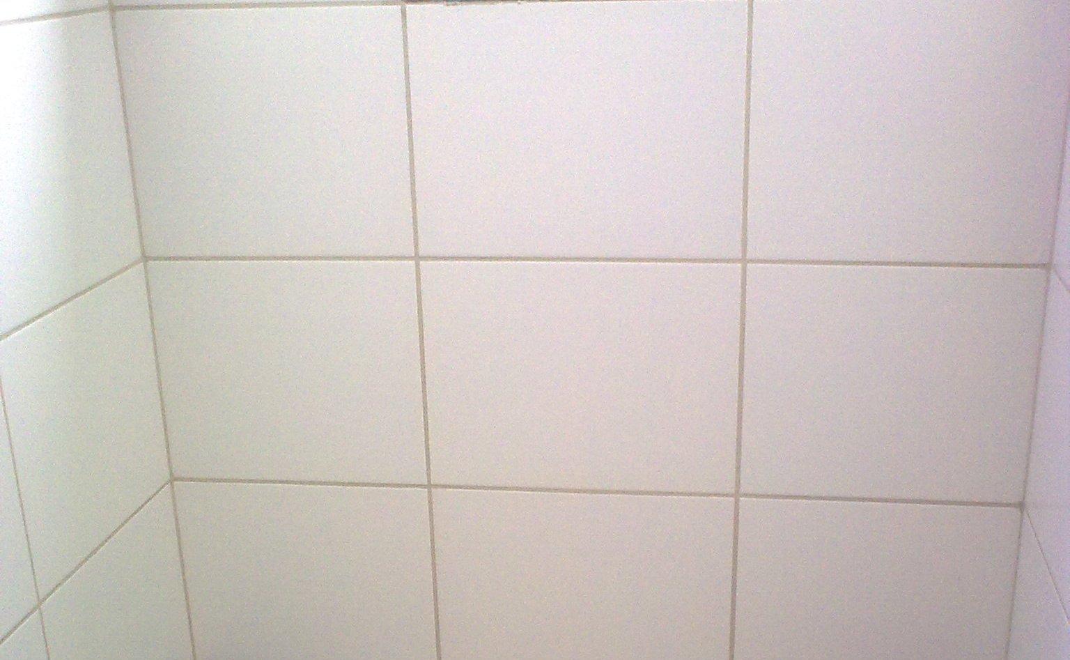 Foto do rejunte do banheiro social (tirada semana passada). Notem como  #71605A 1536x947 Banheiro Branco Com Rejunte Cinza