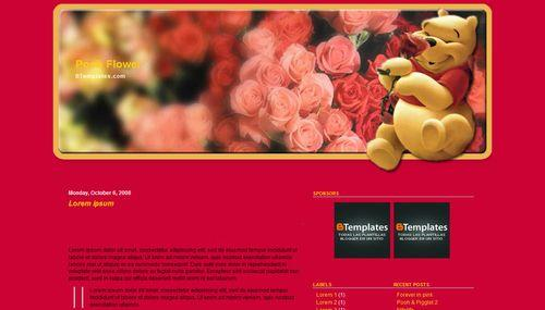 Pooh flower Blogger Template