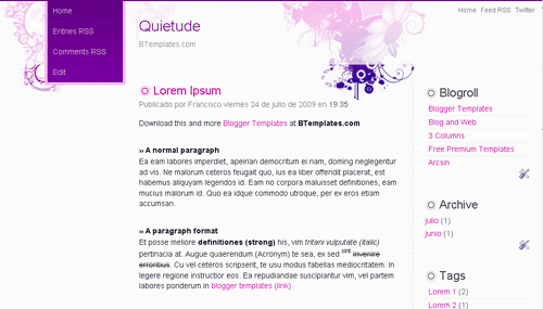 Quietude Blogger Template