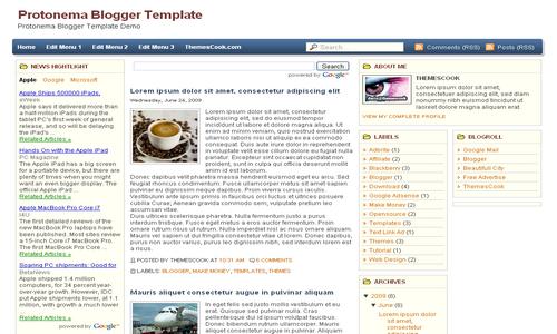 Protonema Blogger Template