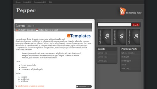 Pepper Blogger Template
