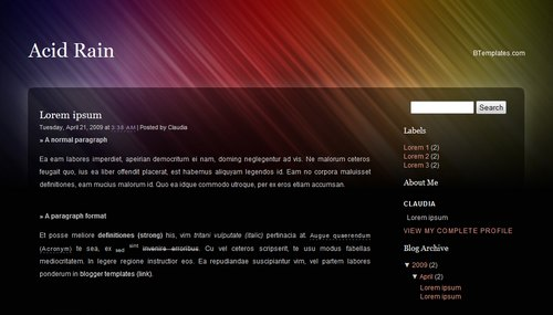 Acid Rain Blogger Template