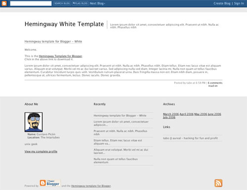 Hemingway White Blogger Template