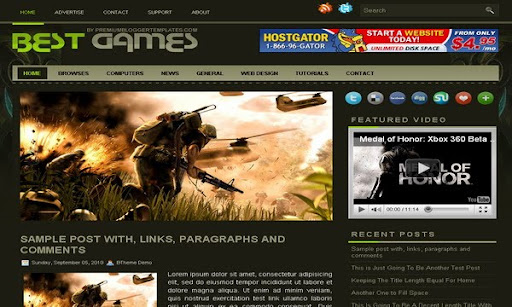 Best Games Blogger Template