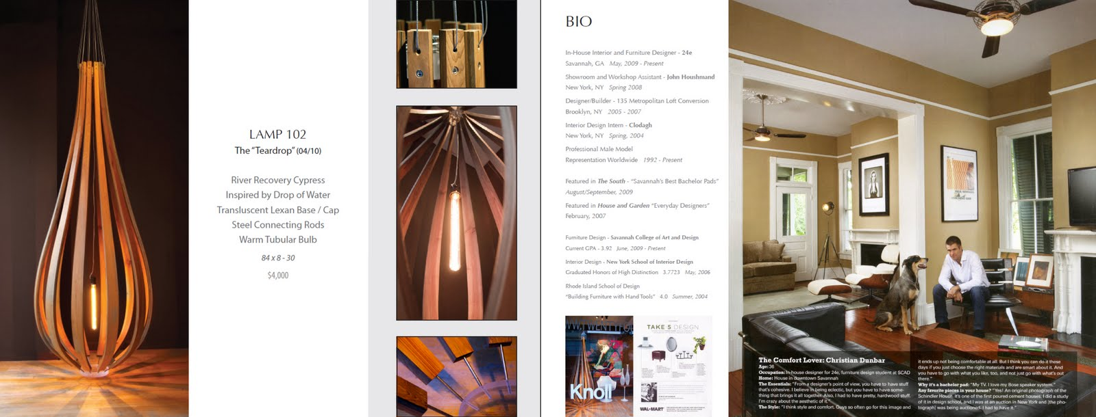 For project 3, I designed a portfolio consisting of a front and back cover, 2 furniture pieces, 2 interior spaces, a light, and a biography page.