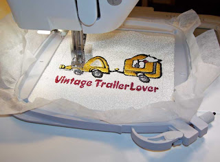 A view while the machine was stitching the design.