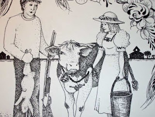 Closer view of the teacher/farmer with milk cow in the Farmer Couple Wedding drawing.