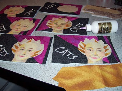 Laying in a bit of color to the fur around the face with fabric snippets.