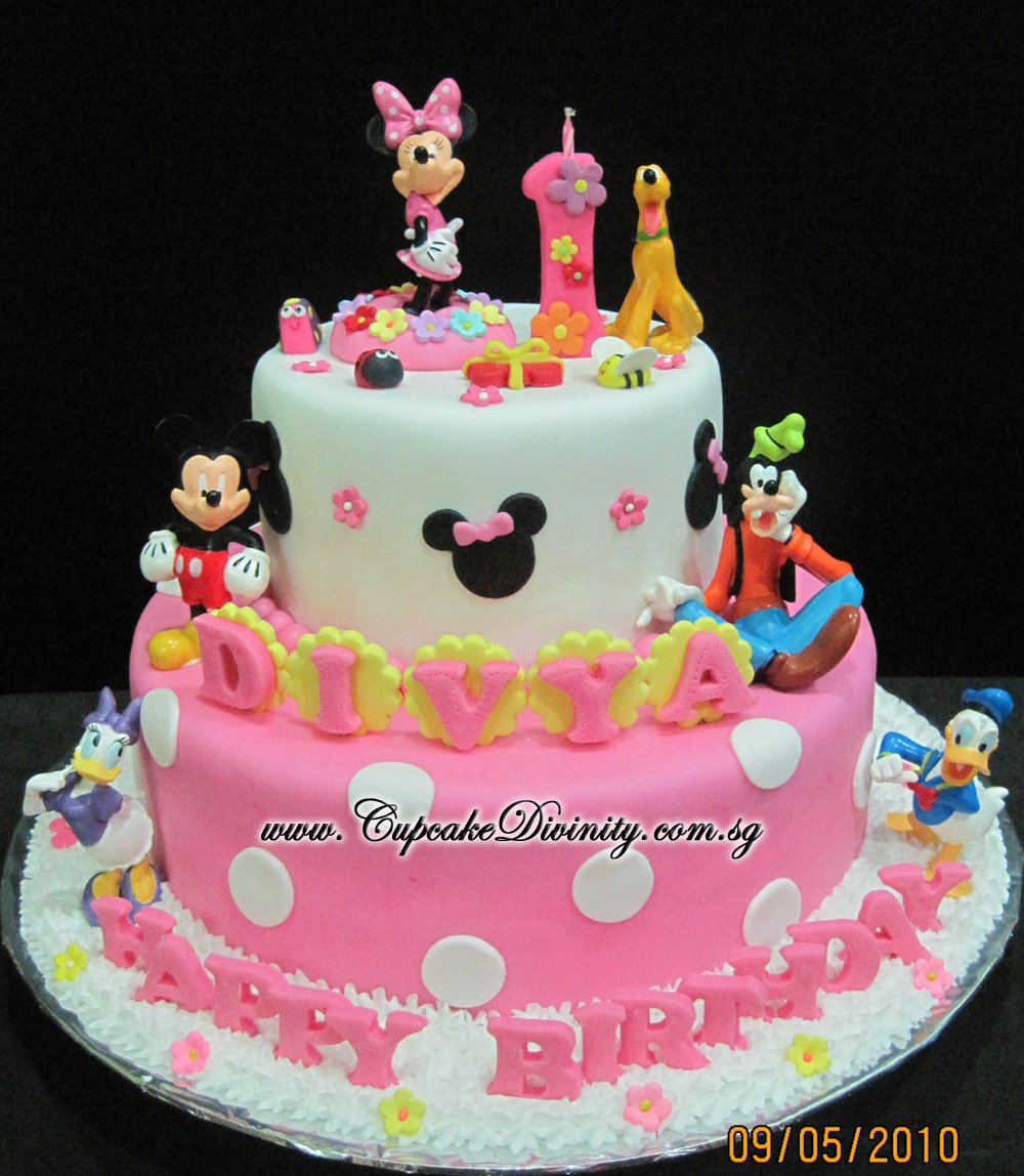 Images Of Birthday Cake With Name Divya : Cupcake Divinity: Maxi 2 tier Minnie & friends with Divya ...