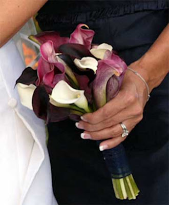 Bridesmaid Bouquet with Eggplant, Mauve and White Calla Lilies