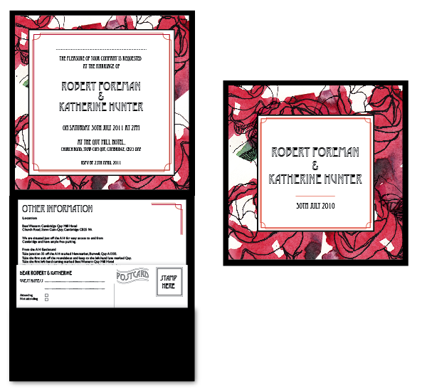 Brief Art nouveau inspired wedding invitations