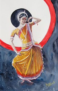 watercolor painting of Odissi dancer