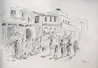 Market scene with melons sketch