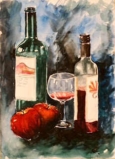 Still life with wine bottles by me