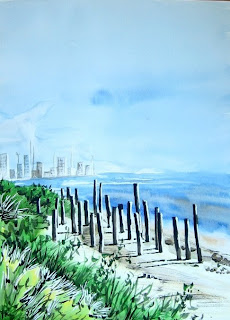 Watercolor painting of seaside
