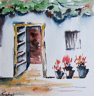 watercolor sketch - welcome home