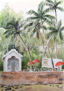 chilling at Baga creek - watercolor