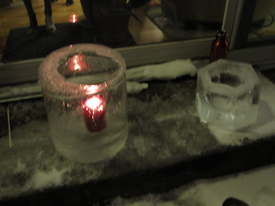ice block candle holder from trash can mold