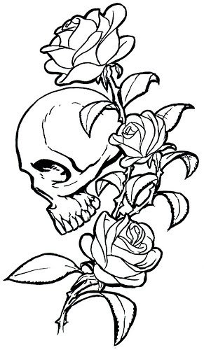 design drawings of the skull and roses tattoo tattoos are suitable for men