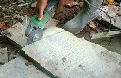 Cutting flagstone with Hitachi grinder