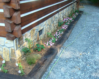 Railroad tie flower bed