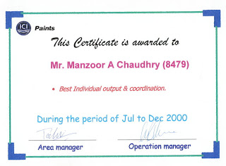 Best Individual Output And Coordination Award From ICI Pakistan Ltd