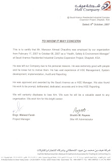 Manzoor ahmad chaudhry hse manager experience letter from haif co ksa yadclub Choice Image