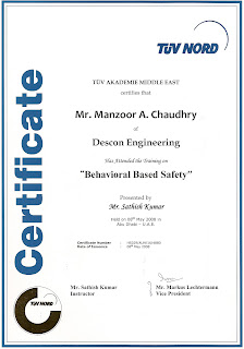 Behavioural Based Safety Training Certificate From TUV NORD UAE