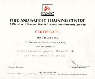 Training Certificate On Correct Use Of PPE From FASTC Lahore