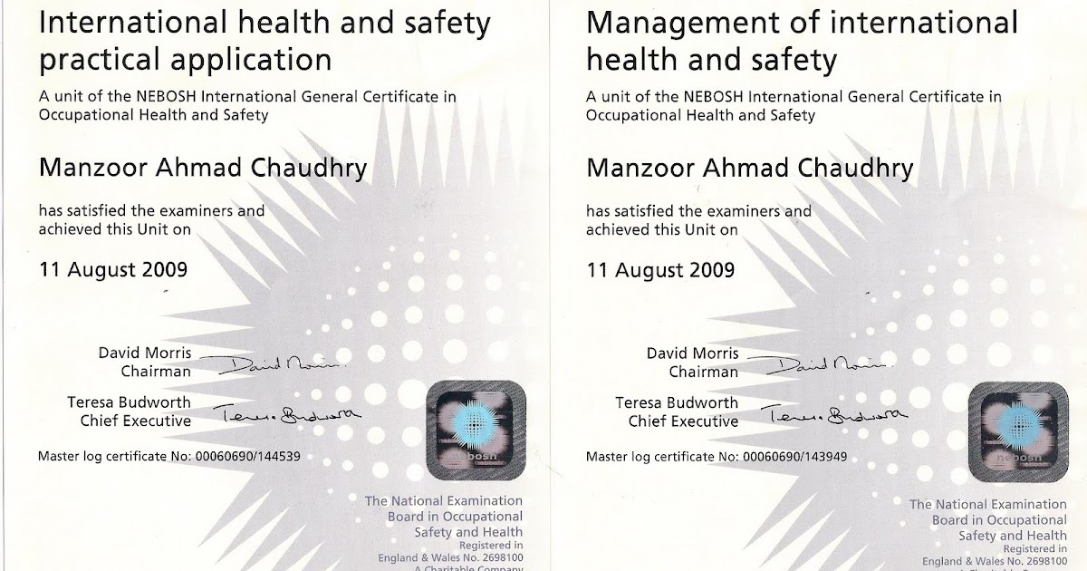 Manzoor Ahmad Chaudhry Hse Manager Nebosh International General