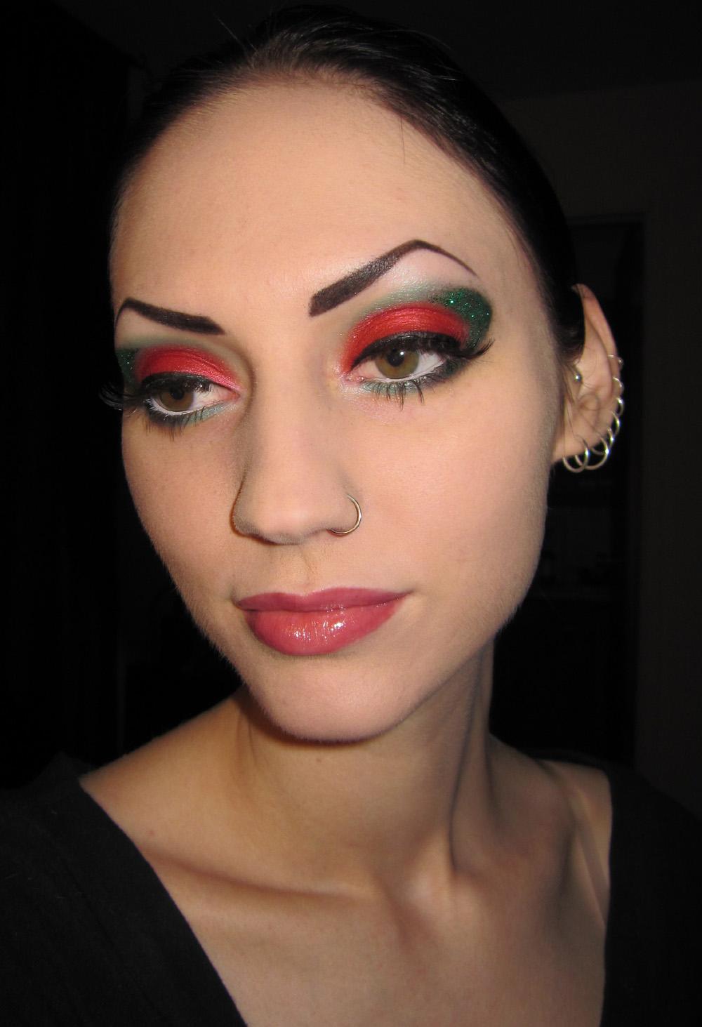 elf mineral eyeshadow primer applied to upper lid blending in gently with ring finger - Christmas Elf Makeup