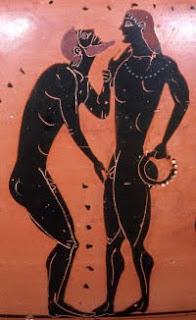 Un viejo seduce a un joven griego.
