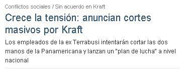 Crece la tensión: anuncian cortes masivos por Kraft.