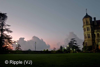 Posted by Ripple (VJ) : The Viceroy Lodge along with its green lawns in Shimla : Clouds coming up in the evening @  Viceregal Lodge, Shimla
