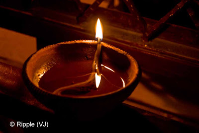 Posted by Ripple (VJ) : Diwali : Festival of Lights : Deeya(Diya) or deepam or deepak (India) is a lamp made usually of clay, with wick made of cotton and dipped in ghee or vegetable oils. Clay deeyas are temporary and are used for special occasions.  Deeyas are predominantly used in Hindu religious festivals such as Diwali, are native to India, and are thus associated with and unique to Hinduism practices.