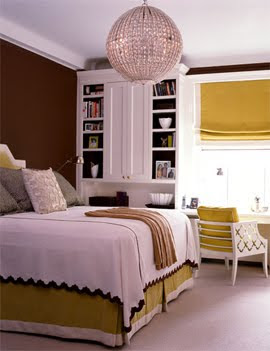 Amanda Nisbet Brown and Mustard accented Bedroom