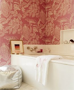 Amanda Nisbet Pink Wallpapered Bathroom