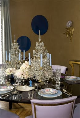 Amanda Nisbet Dining Table with crystal candle holders