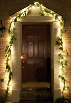 Lights and Garland above front door