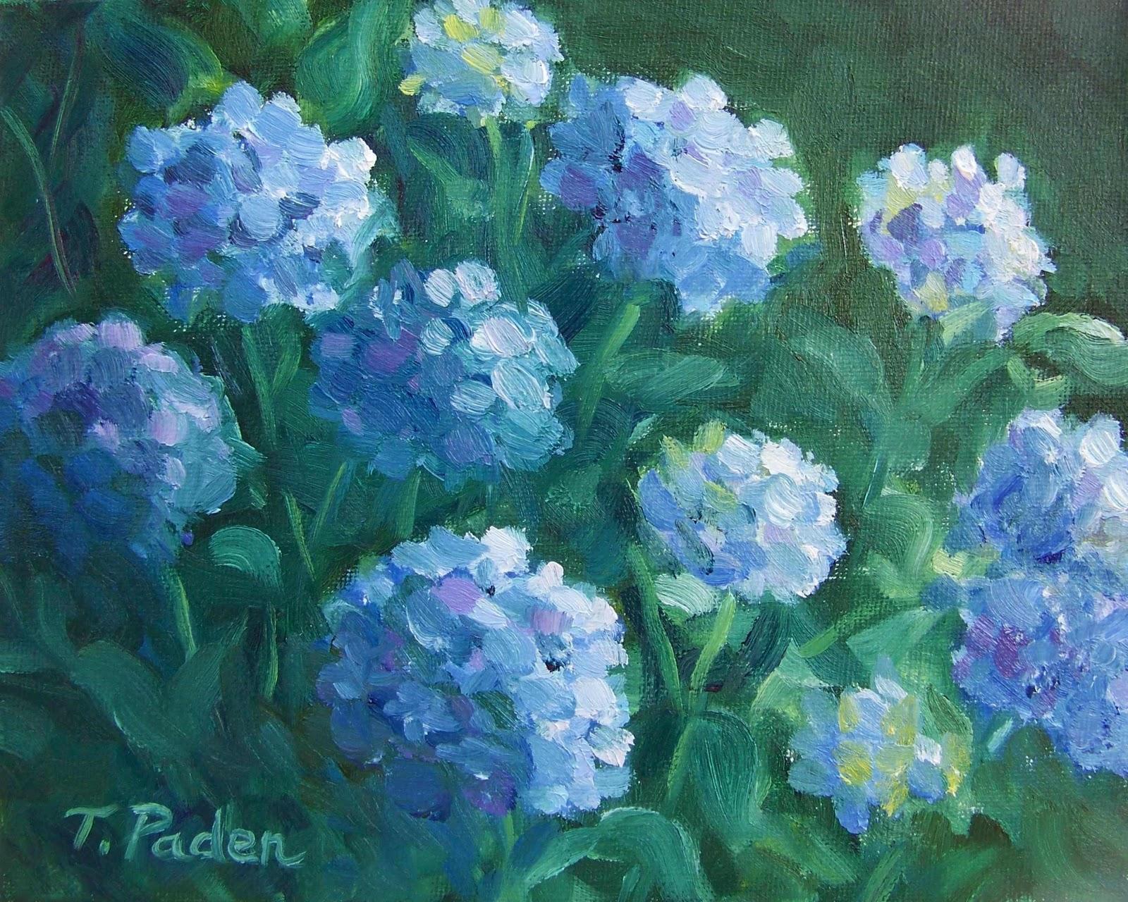 daily painters of california blue hydrangea plein air