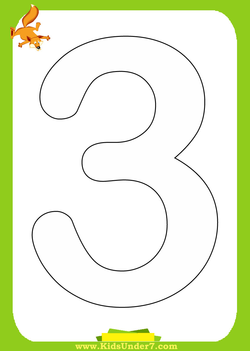 Kids Under 7: Number Coloring Pages 1-10