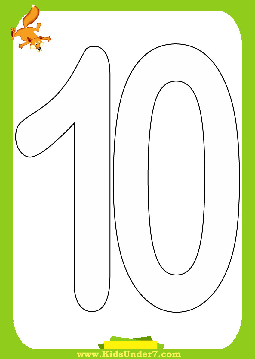 Coloring pages numbers 1-10