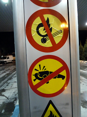 A sign in a gas station in Brcko District, Bosnia, August 31 2010