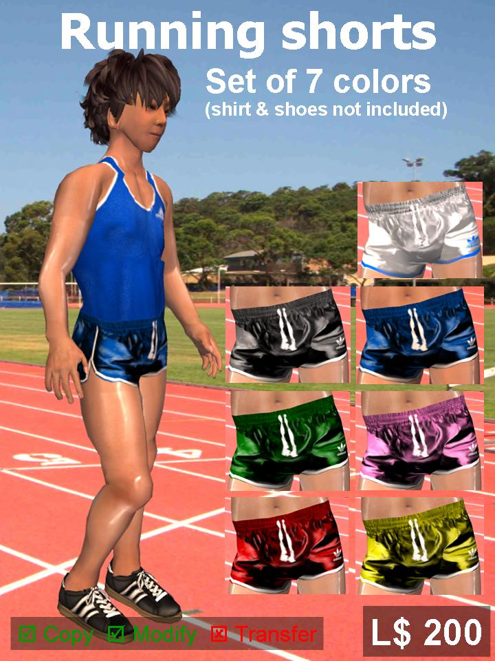 Image set of running shorts in 7 different colors these are made
