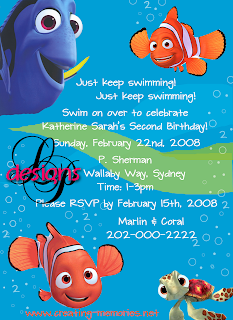 Lynn Puzzo Designs Katherines Nemo Birthday Party Invitations