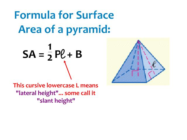 how do you find lateral surface area of a square pyramid