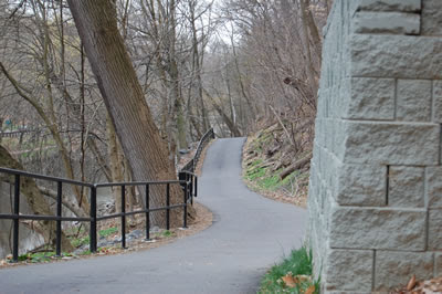Bike trail, Wissahickon Park, near Henry Avenue Bridge.