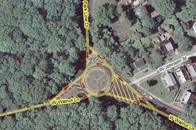 Blue Bell Hill traffic circle on Google Maps.